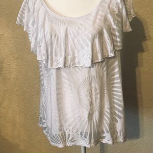 White Ruffled Collar Sheer Shirt